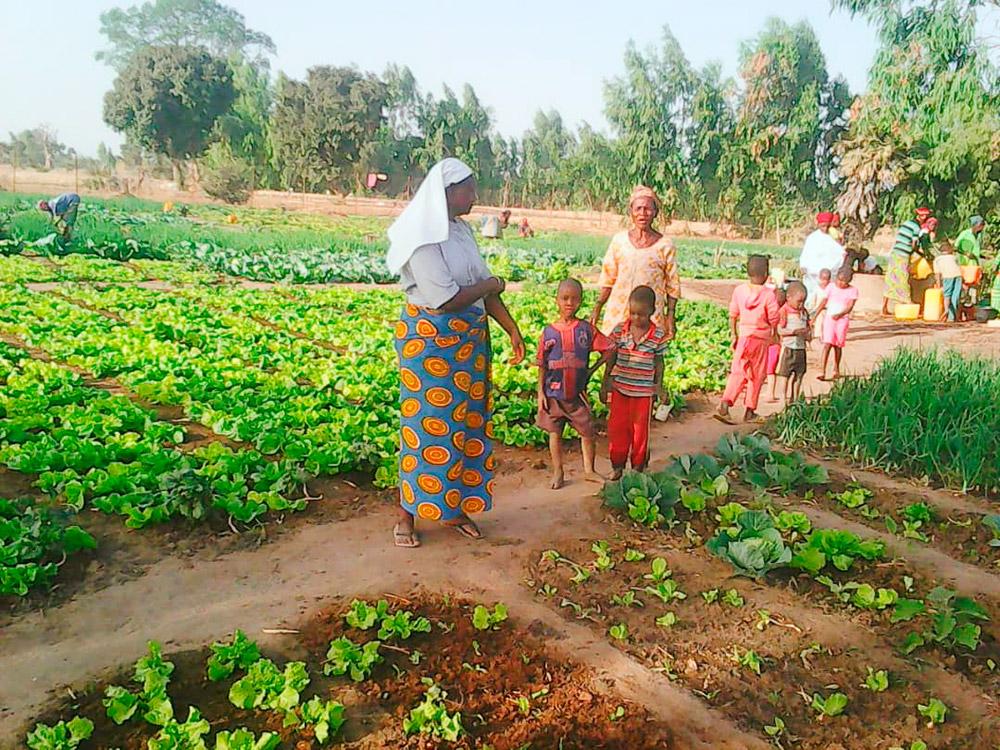 Frauen und Kinder auf dem Feld